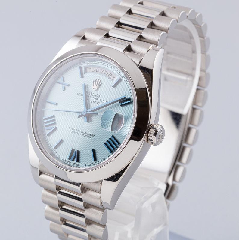 Rolex Day-Date 228206 Unisex-Uhr 40 mm in Gletscherblau